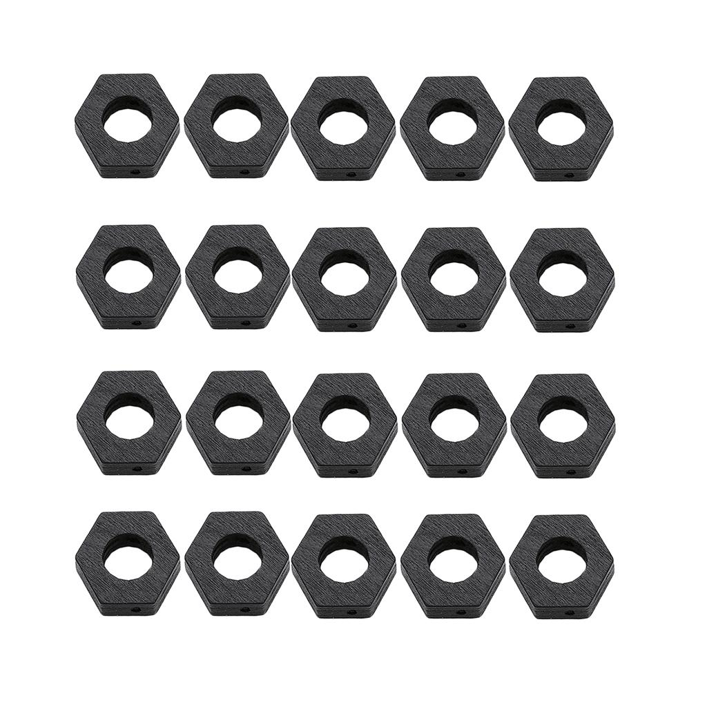 20pieces Sexangle Shape Crafts Beads Wood Loose Spacer Beads Natural Macrame Curtain DIY Supply 29x30mm Black