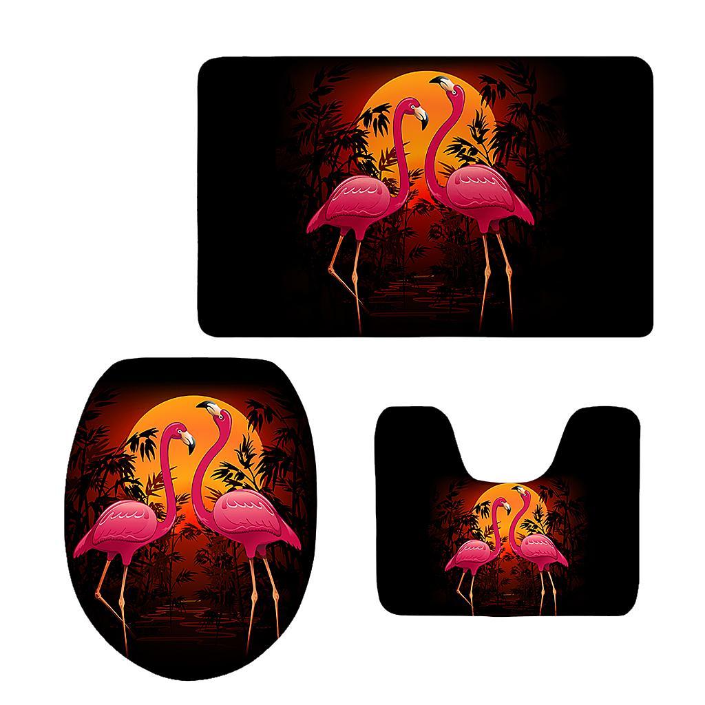 3er Flamingo Badgarnitur Matte Set Dusch Bade Matte Vorleger Teppich WC Set