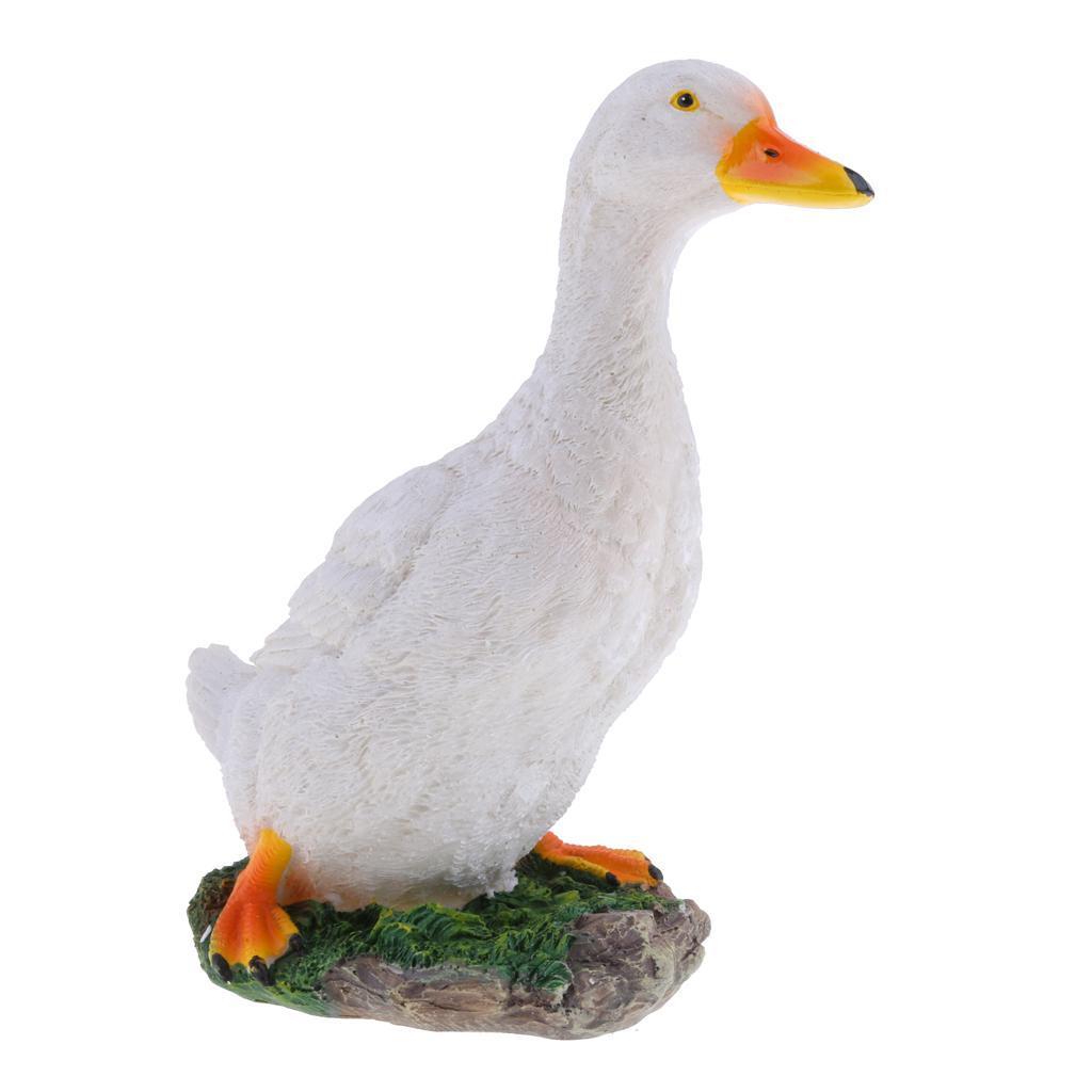 Stsatuette For Outdoor Ponds: Duck Garden Statue Figurine Resin Pond Lawn Ornament