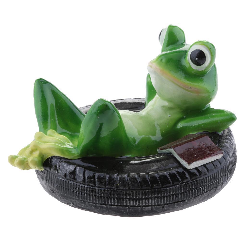 2Pcs Simulation Resin Floating Frogs Fairy Garden Terrarium Outdoor Statues