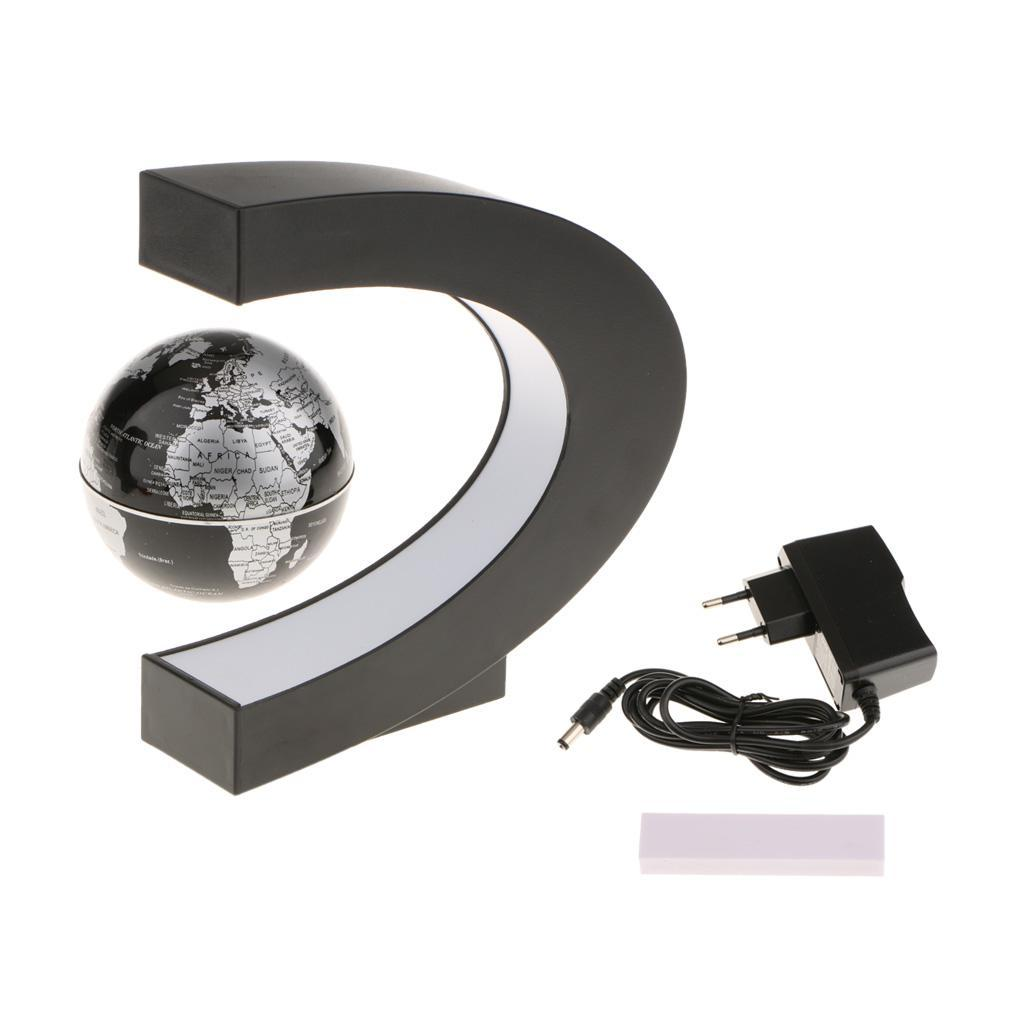 C-Shape-Magnetic-Levitation-Floating-World-Map-Globe-Rotating-LED-Light-EU thumbnail 16