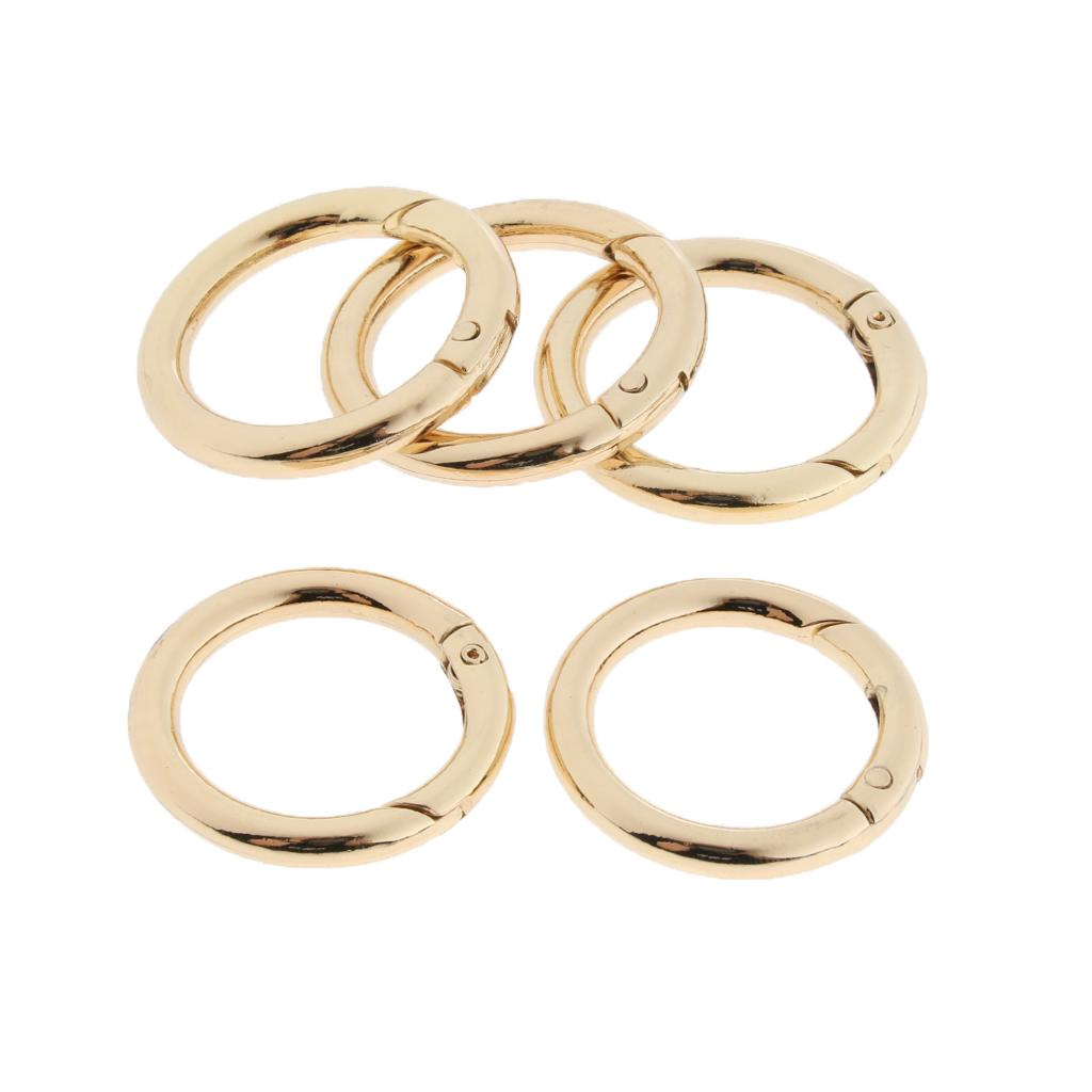 5Pcs Round Circle Carabiners Clip Snap Hook Open Buckle Karabiner Gold 12mm
