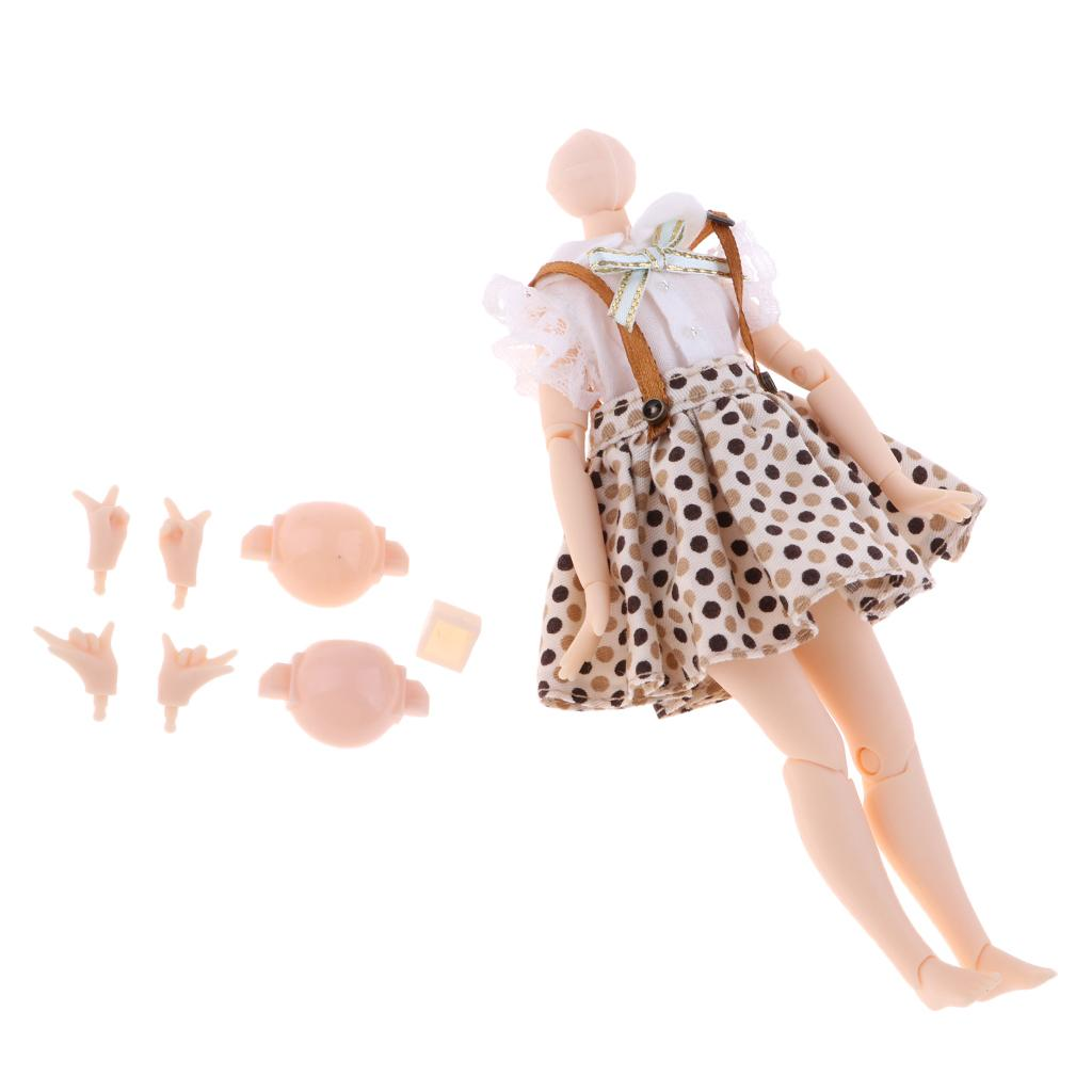 14.5cm Flexible 20 Jointed Nude Body w//Hands Set for 20cm Middle Blythe Doll