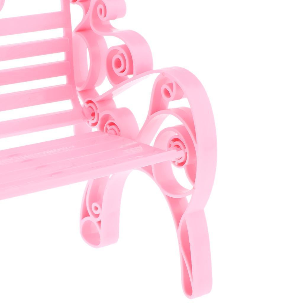 2x White Village Park Bench 1//6 Scale Dollhouse Furniture Garden Home Decor