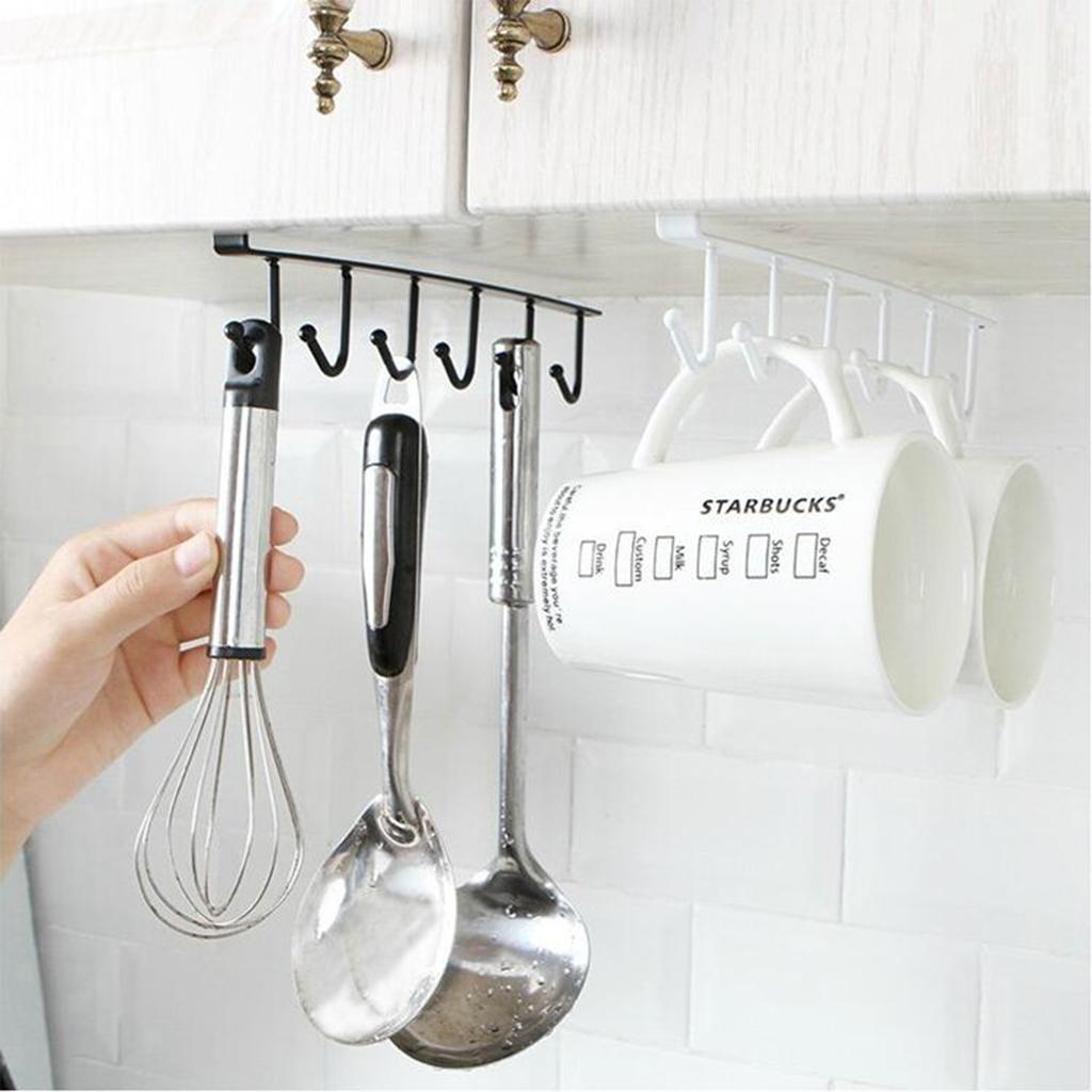 Hang Kitchen Cabinets Yourself: 6 Hook Under Cabinet Cups Holder Hanging Rack Mug Storage