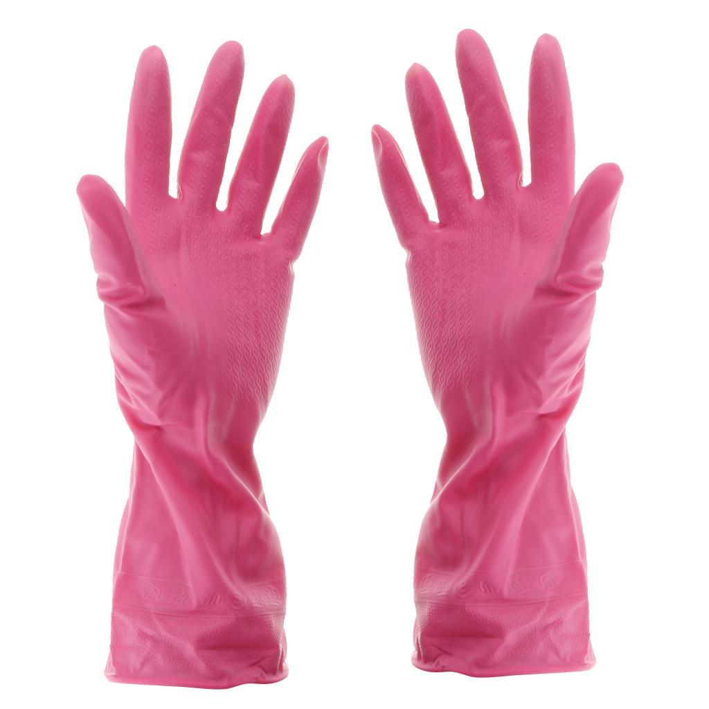 Gloves-Dish-Washing-Cleaning-Waterproof-Soft-Rubber-Scouring-Kitchen-Gloves thumbnail 24