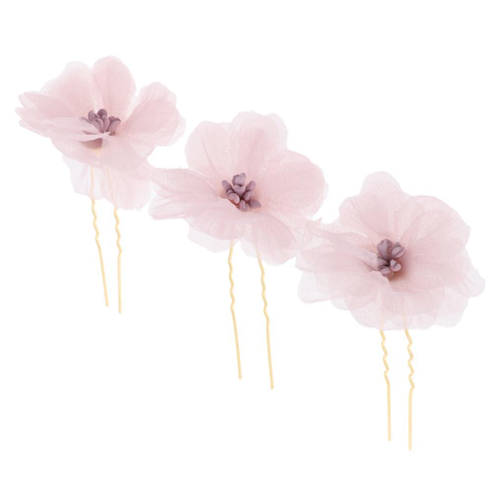 3x-Flower-Hairpins-U-Shape-Hair-Sticks-Bridal-Bride-Headdress-Hair-Pin-Clip thumbnail 13