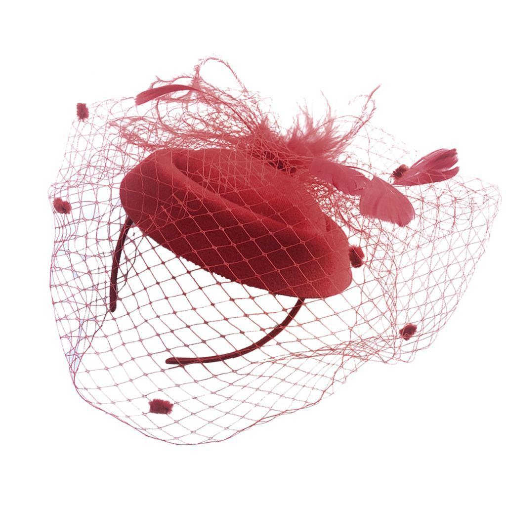 Women-039-s-Fascinator-Hat-Mesh-Veil-Feathers-Headband-Cocktail-Tea-Party-Hats thumbnail 11