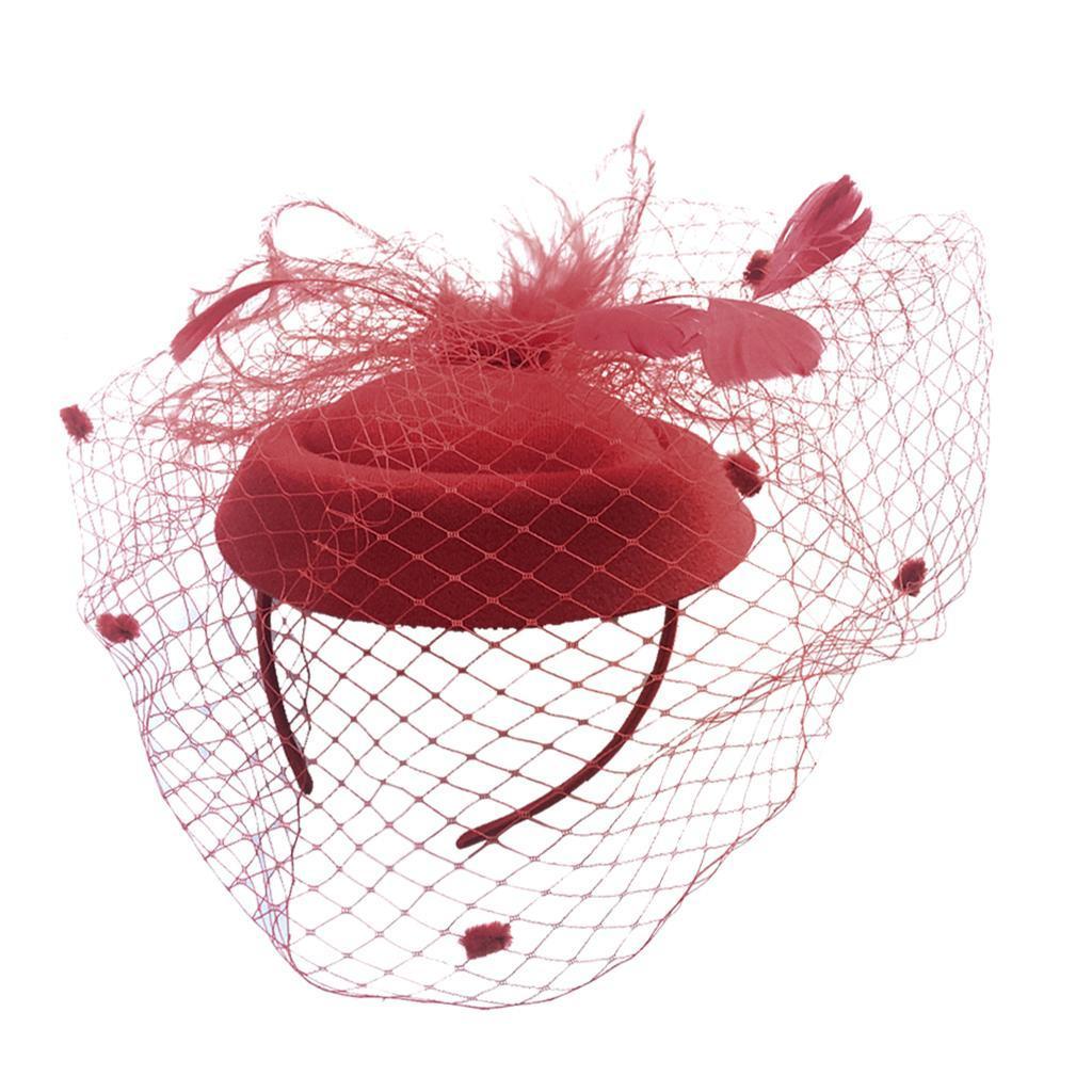 Women-039-s-Fascinator-Hat-Mesh-Veil-Feathers-Headband-Cocktail-Tea-Party-Hats thumbnail 12