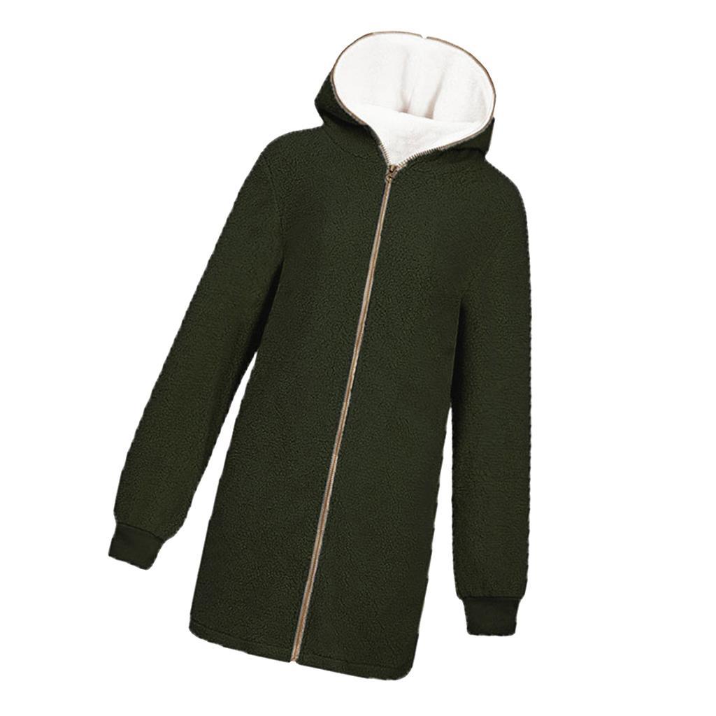Details about Fluffy Coat Zipper Cardigans Warm Lamb Fur Jacket Hooded Outwear for Womens
