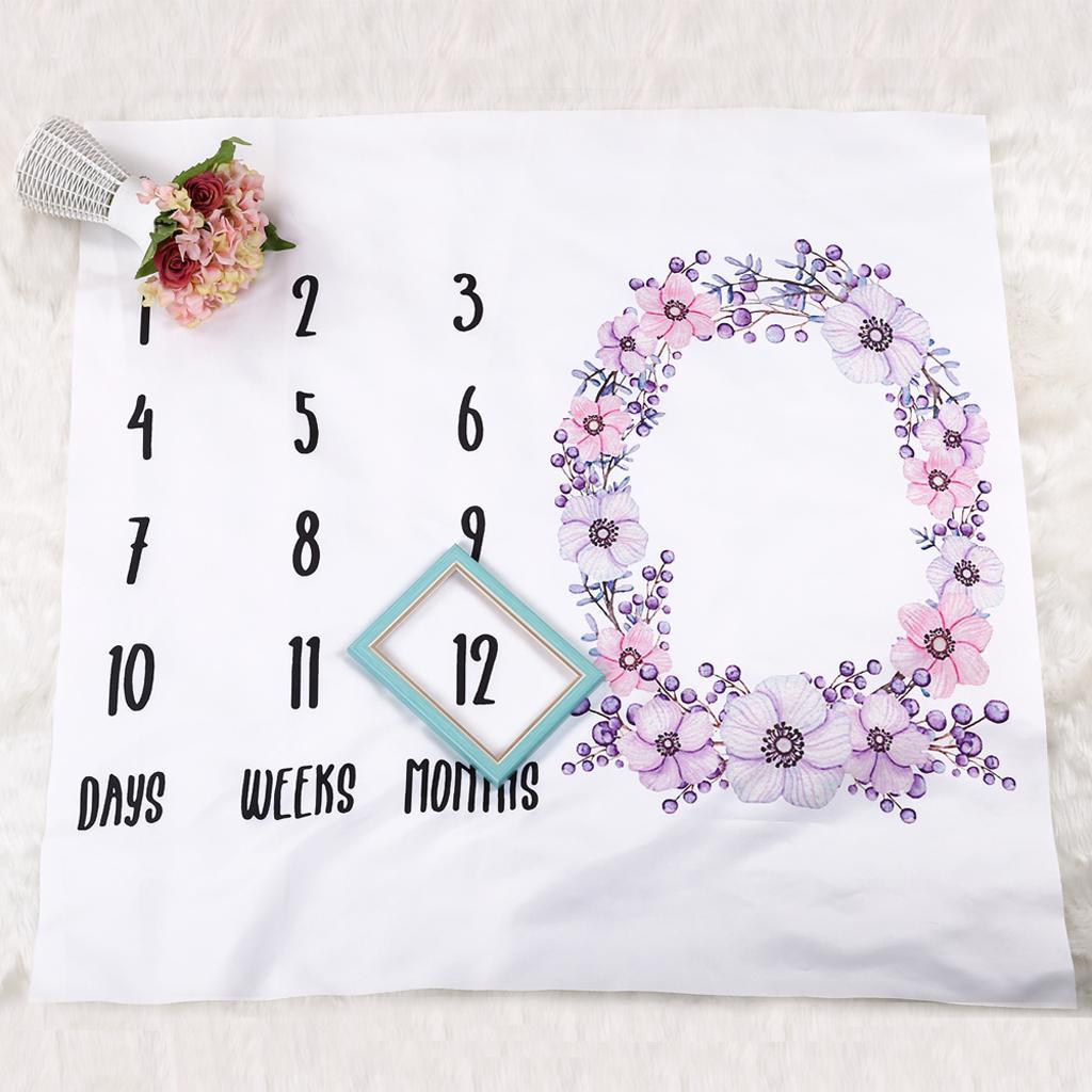 Couverture Bébé Florale Impression avec Toise Mensuelle Fond de Photo pour