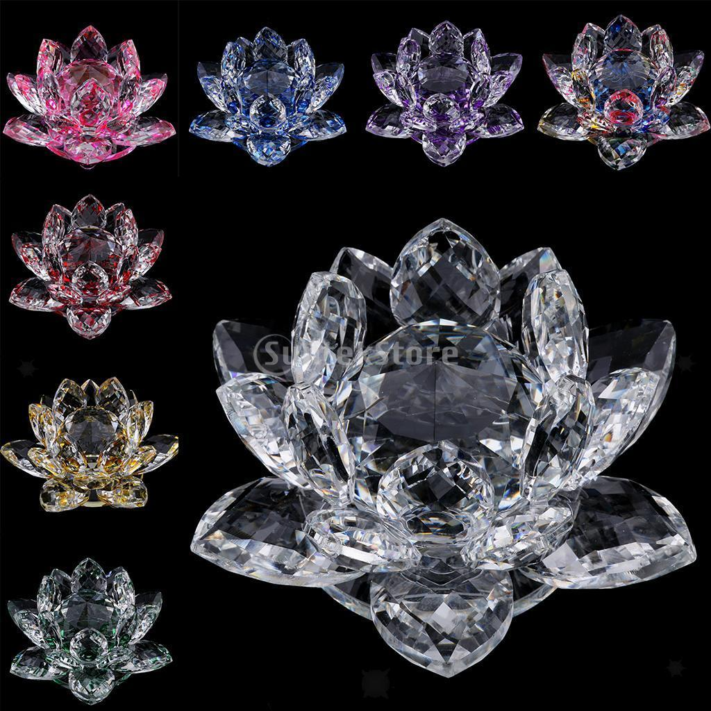 Mini Buddhist Crystal Glass Lotus Flower Model Feng Shui Decoration