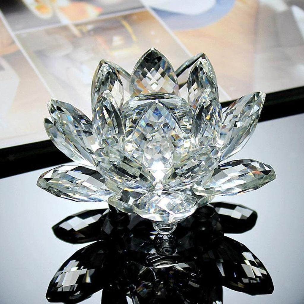Porte-bougie-En-Verre-Cristal-Bougeoir-Lotus-Pour-Bougie-Candle-Holder-8x5cm miniature 3