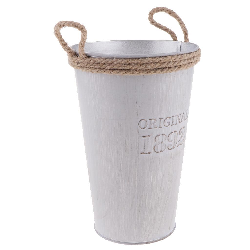French-Galvanised-Metal-Tin-Flower-Succulent-Plant-Pot-Bucket-Flower-Vase thumbnail 4