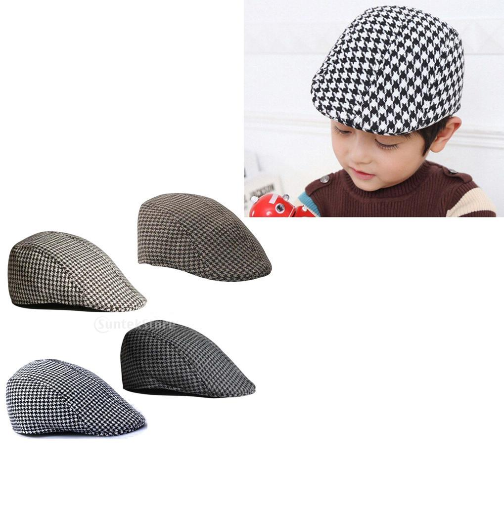 Garcon-Filles-Baseball-Beret-Casquette-Flat-Peaked-Toddler-Houndstooth-Cap-Decor miniature 29