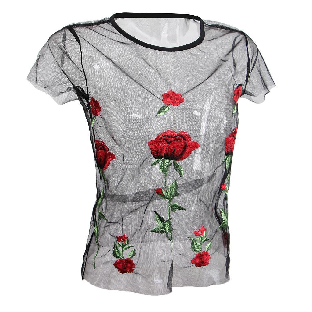 le-donne-sexy-sheer-nero-maglia-garza-t-shirt-ricamato-top-rose-pigiameria miniatura 12