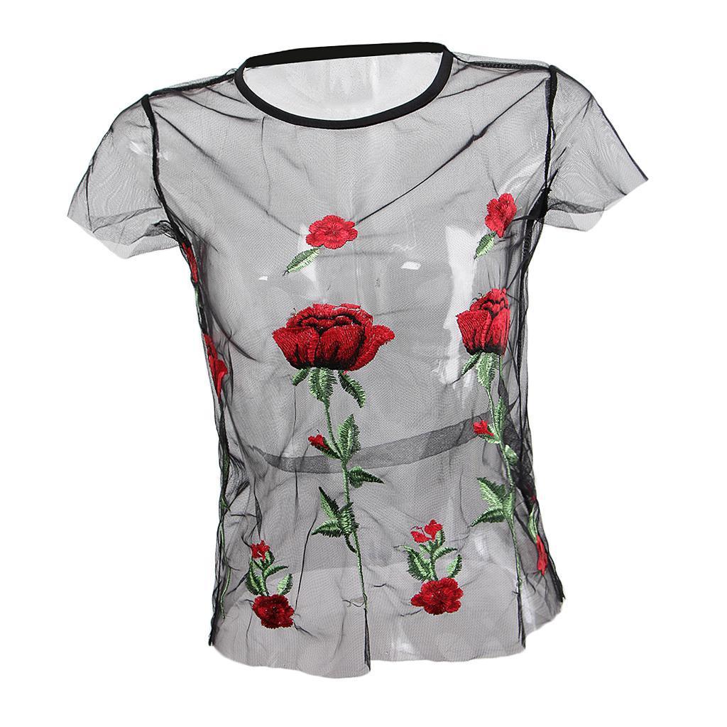 le-donne-sexy-sheer-nero-maglia-garza-t-shirt-ricamato-top-rose-pigiameria miniatura 13