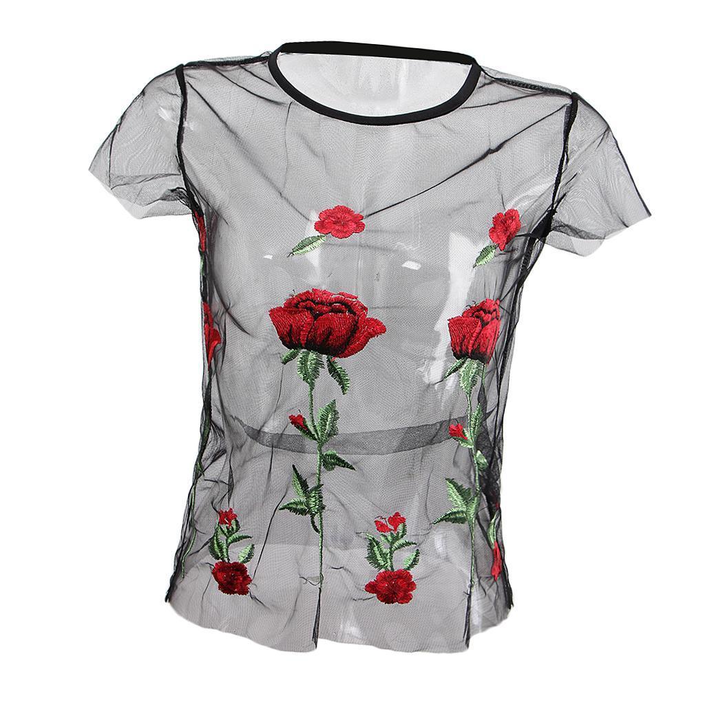 le-donne-sexy-sheer-nero-maglia-garza-t-shirt-ricamato-top-rose-pigiameria miniatura 14