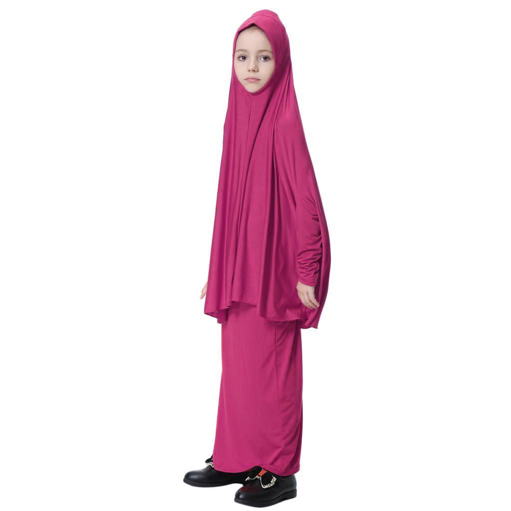 Fille-Robes-Musulmane-Islamique-a-Manches-Longues-Deux-Pieces-Priere-Robe miniature 13