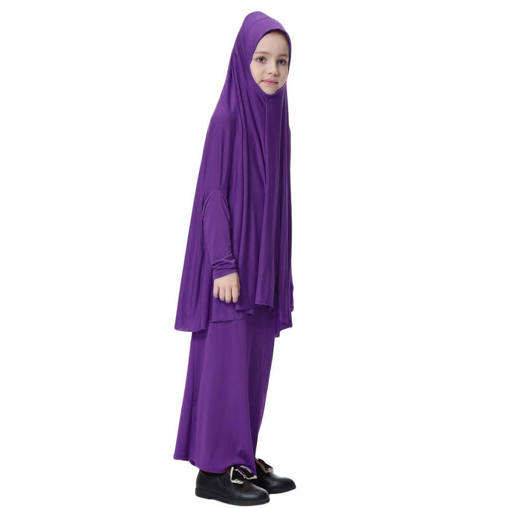 Fille-Robes-Musulmane-Islamique-a-Manches-Longues-Deux-Pieces-Priere-Robe miniature 29