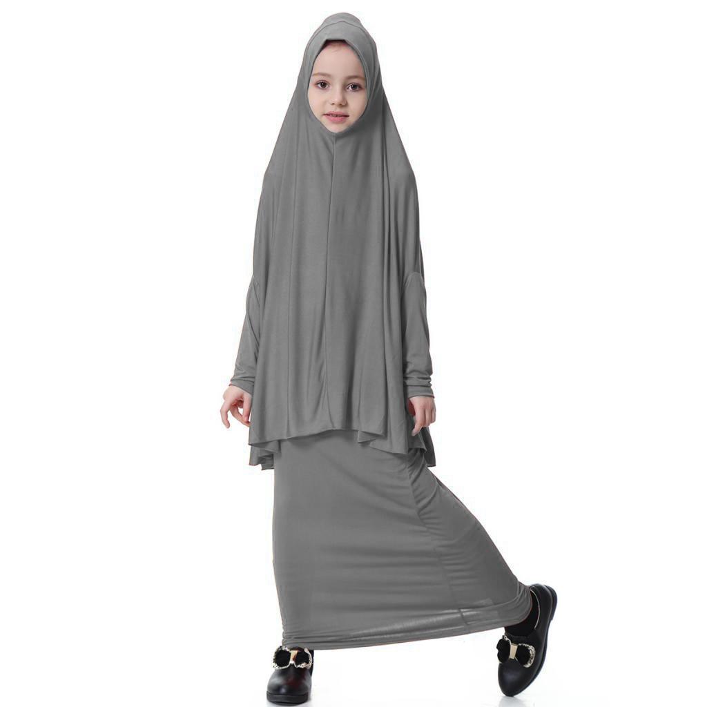 Fille-Robes-Musulmane-Islamique-a-Manches-Longues-Deux-Pieces-Priere-Robe miniature 44