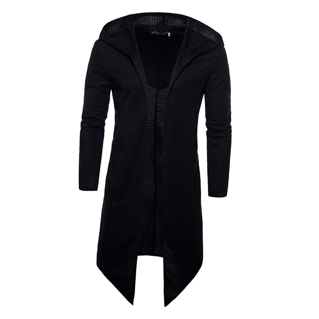 Mens-Cardigan-Hooded-Long-Cloak-Cape-Coat-Loose-Casual-Slim-Jacket-Hoodies thumbnail 9