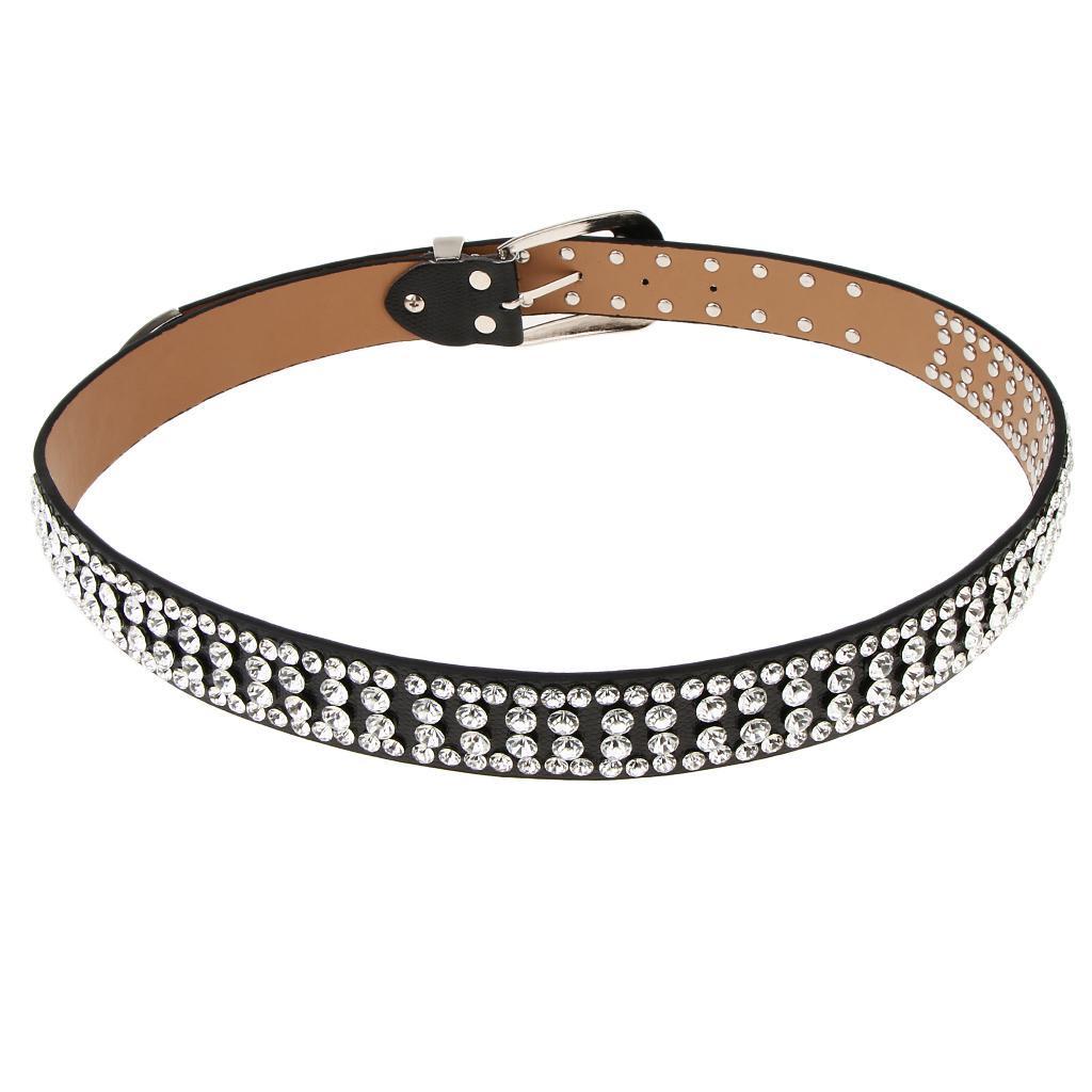 Cintura-Pelle-Con-Strass-Lega-Fibbia-Elegante-Accessorio-Donna-Per-Feste miniatura 11