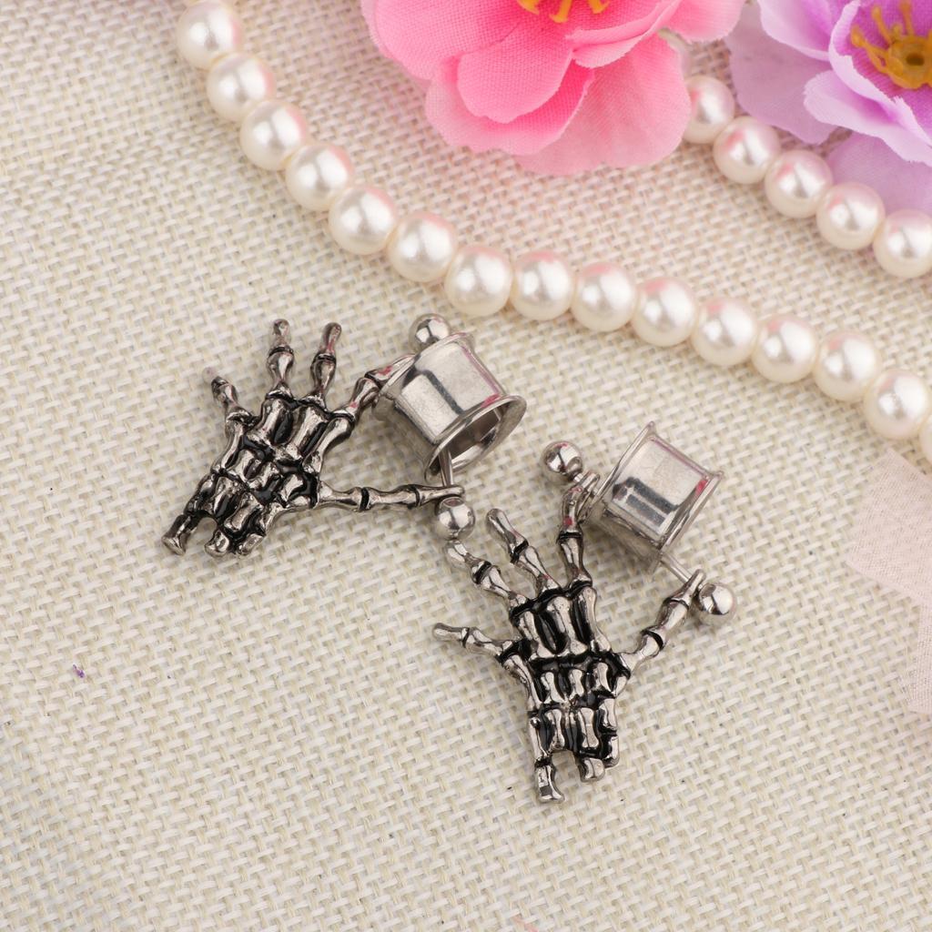 2-pezzi-in-acciaio-inox-scheletro-mano-tappi-per-orecchie-expander-calibri miniatura 17