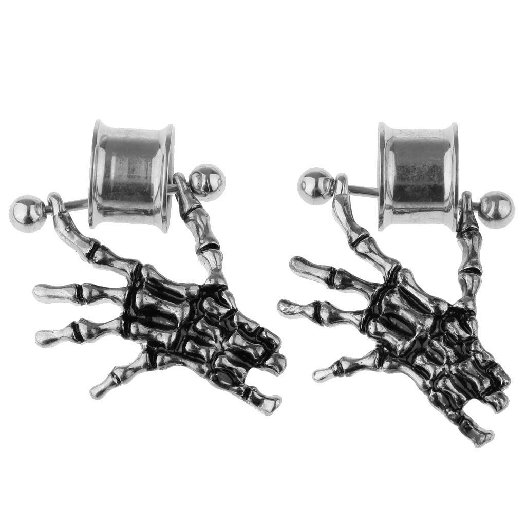 2-pezzi-in-acciaio-inox-scheletro-mano-tappi-per-orecchie-expander-calibri miniatura 18