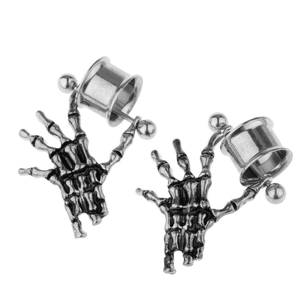 2-pezzi-in-acciaio-inox-scheletro-mano-tappi-per-orecchie-expander-calibri miniatura 19