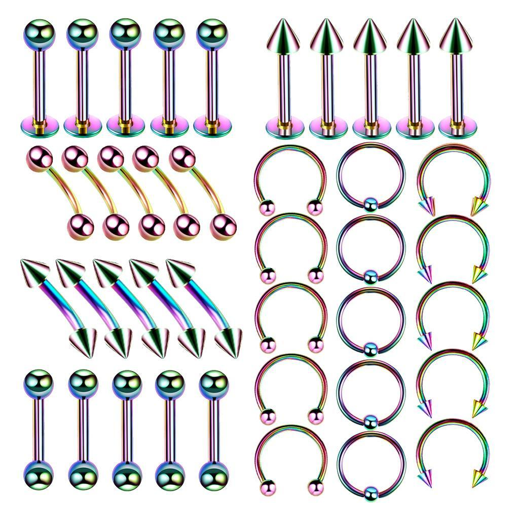 40Pcs-Body-Piercing-Kit-16G-Nose-Ring-Horseshoe-Lip-Tongue-Eyebrow-Tragus miniature 6