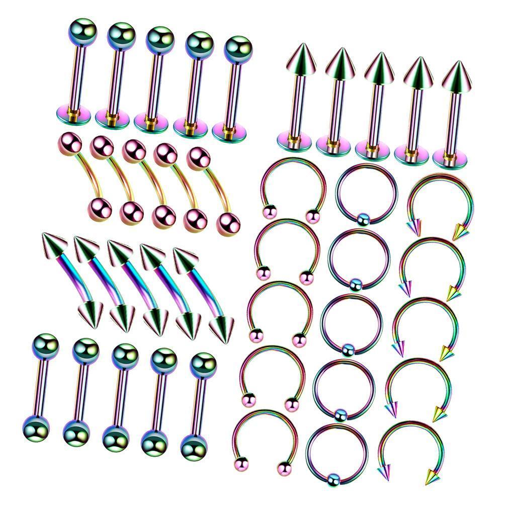 40Pcs-Body-Piercing-Kit-16G-Nose-Ring-Horseshoe-Lip-Tongue-Eyebrow-Tragus miniature 7