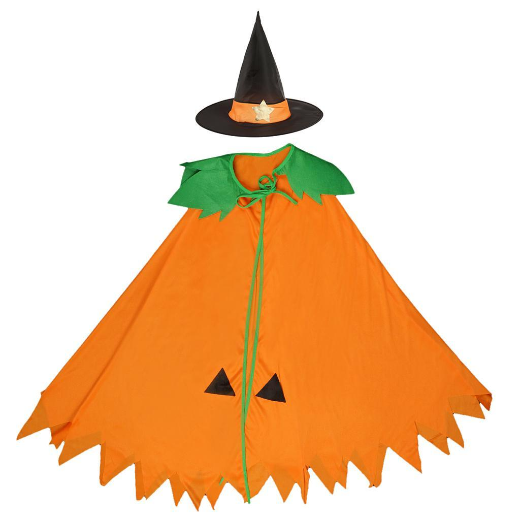 Halloween-Pumpkin-Cloak-Cape-Cosplay-Costume-Home-Party-Role-Play-Fancy-Dress thumbnail 9