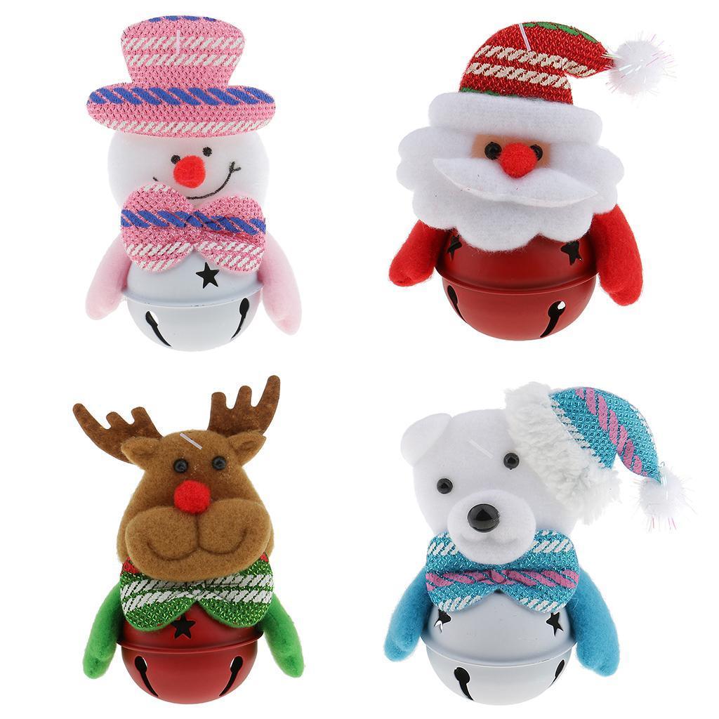 Peluche-Con-Campana-Pupazzo-Di-Neve-Babbo-Natale-Alce-Orso-Ornamenti-Per miniatura 3