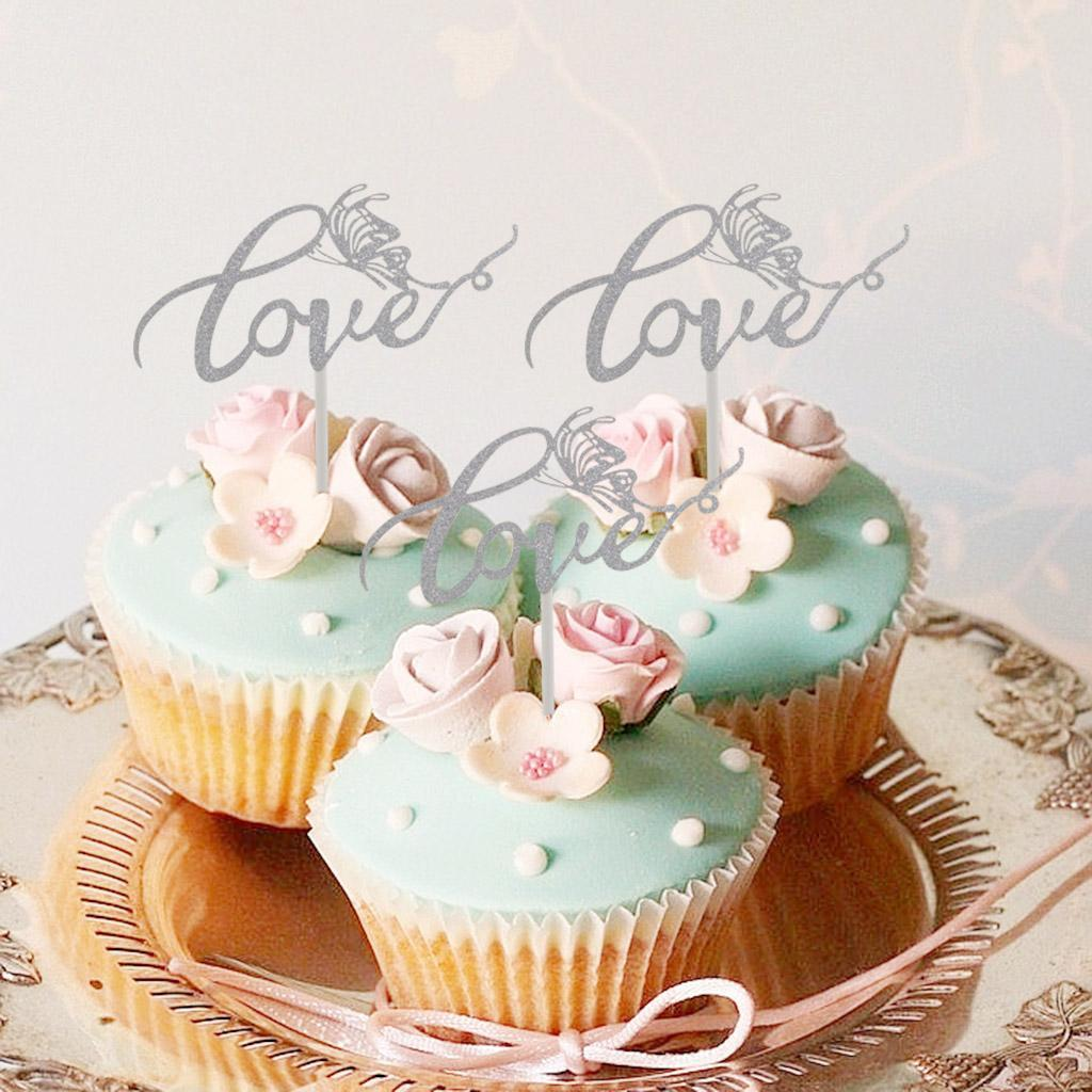 Glitter Love Cake Cupcake Topper Wedding Bridal Shower Cake Picks Birthday Decor Ebay