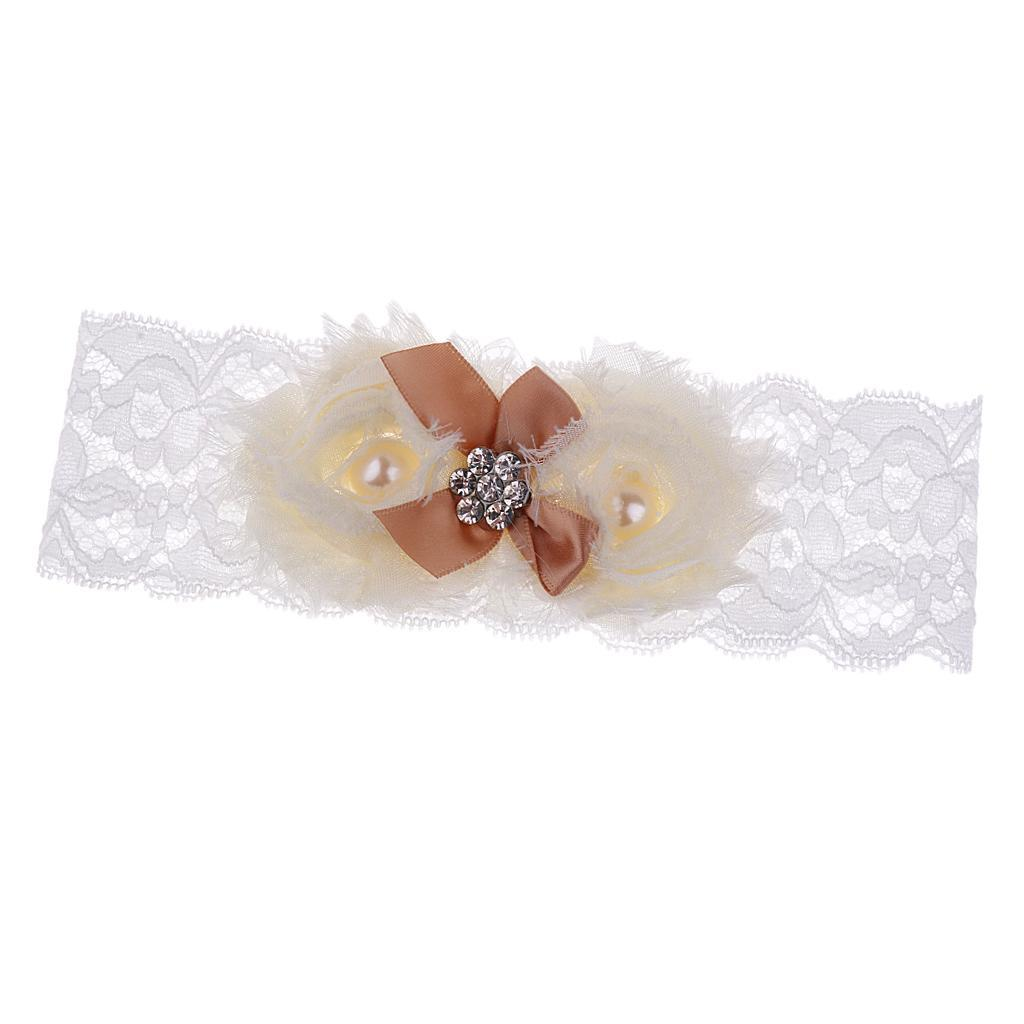 Wedding-Bride-Keepsake-Lace-Pearl-Crystal-Rose-Flower-Bridal-Garter-White-Brown thumbnail 15