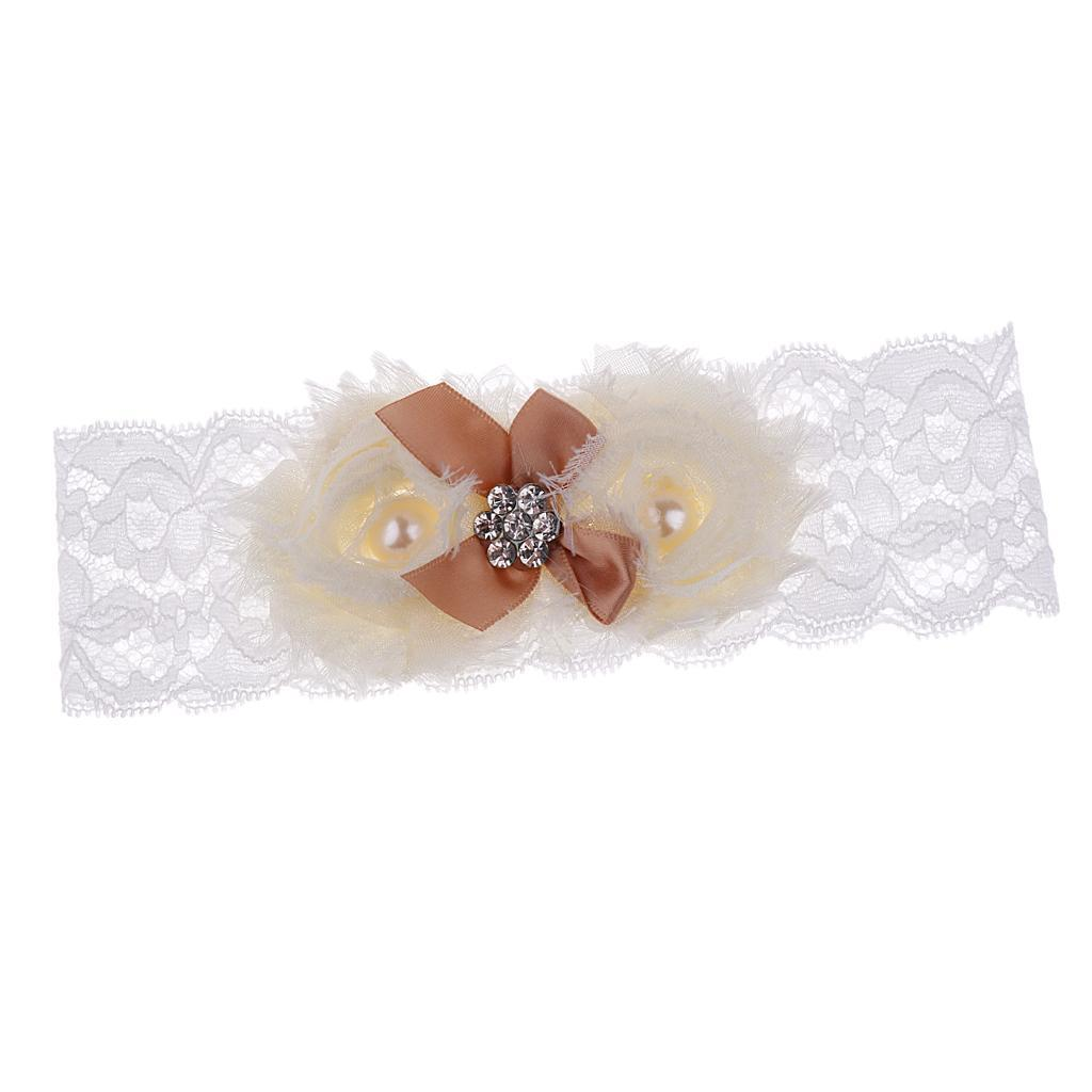 Wedding-Bride-Keepsake-Lace-Pearl-Crystal-Rose-Flower-Bridal-Garter-White-Brown thumbnail 16