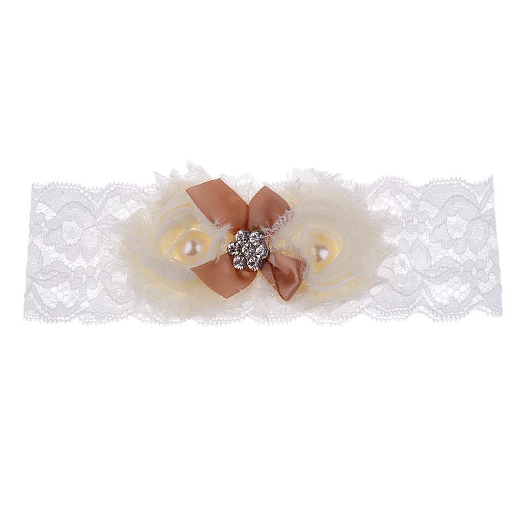 Wedding-Bride-Keepsake-Lace-Pearl-Crystal-Rose-Flower-Bridal-Garter-White-Brown thumbnail 12