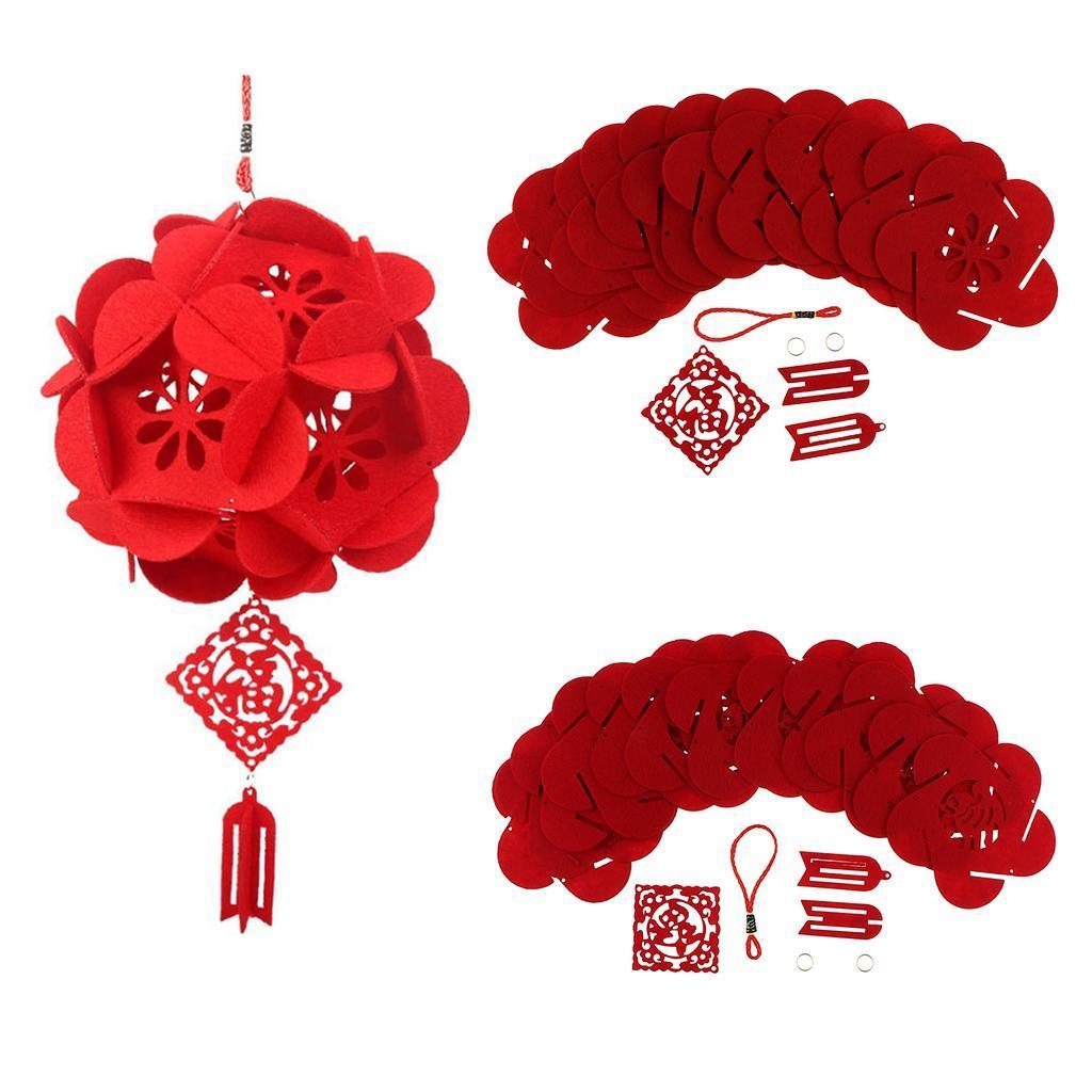 miniatura 5 - Lanterne floreali rosse fai-da-te Kit non tessuti artigianali Artigianato