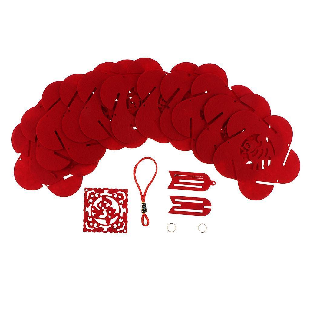 miniatura 3 - Lanterne floreali rosse fai-da-te Kit non tessuti artigianali Artigianato