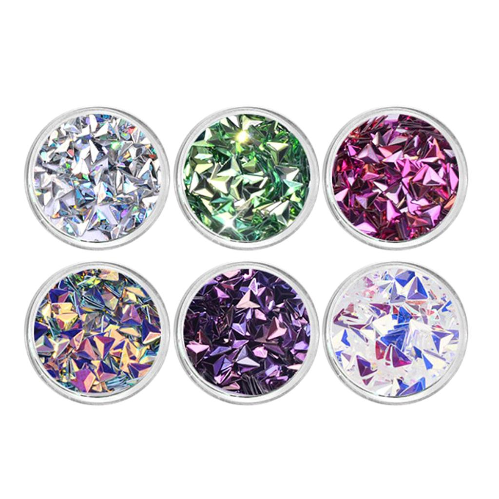 6x 3D Triangle Colorful Sequins Metallic Luster Bright Nail Stickers