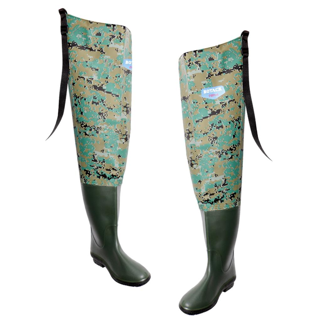 Details about PVC Fishing Waders Hip Waterproof River Boot Foot Boots with Cleated Soles