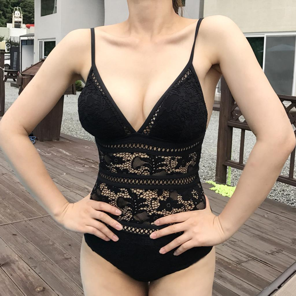 Femme-Maillot-de-Bain-1-Piece-elegant-Amincissant-Bikini-Sexy-Transparent miniature 5