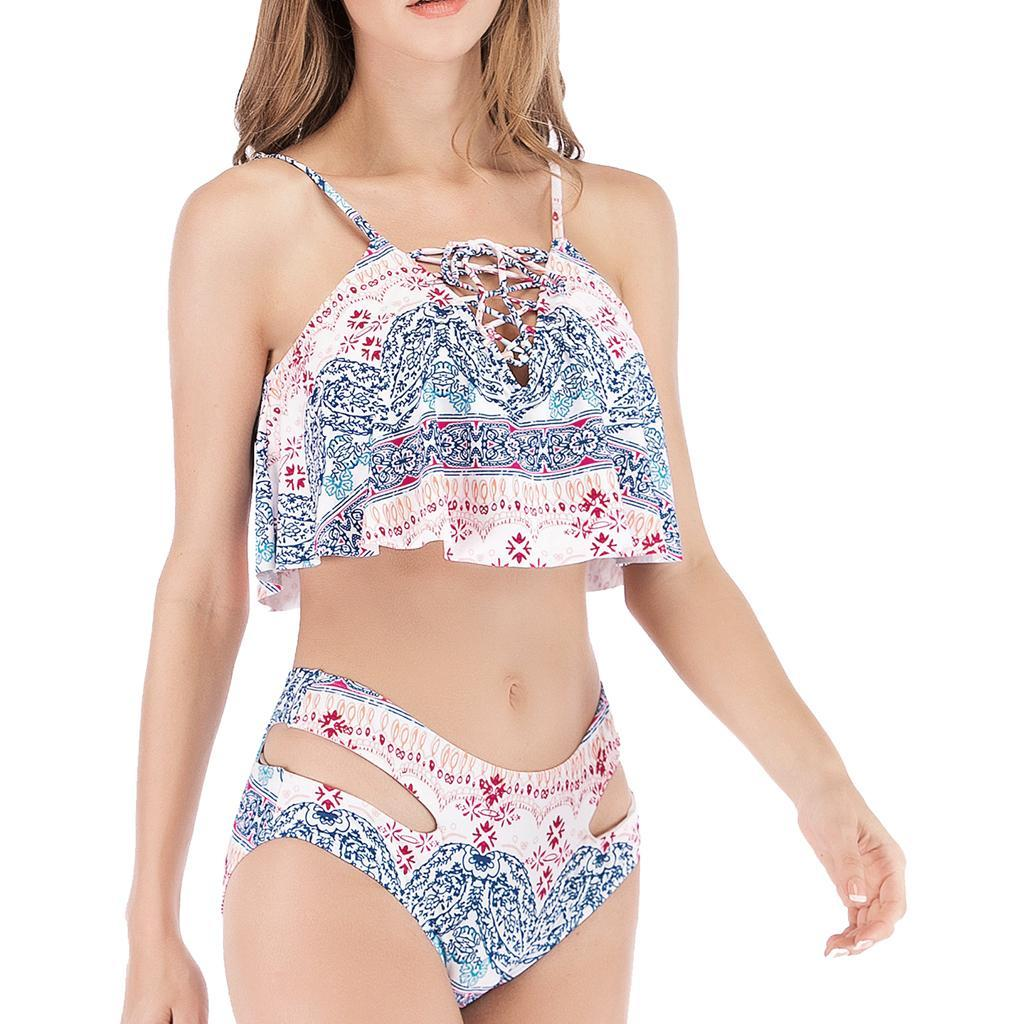 miniature 6 - Bikini Taille Haute Femme Vintage 2 Pièces Maillot de Bain Volants Push Up