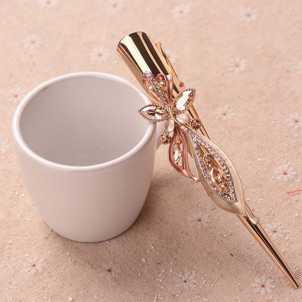 Fermacapelli-per-capelli-in-coccodrillo-con-strass-in-metallo miniatura 3