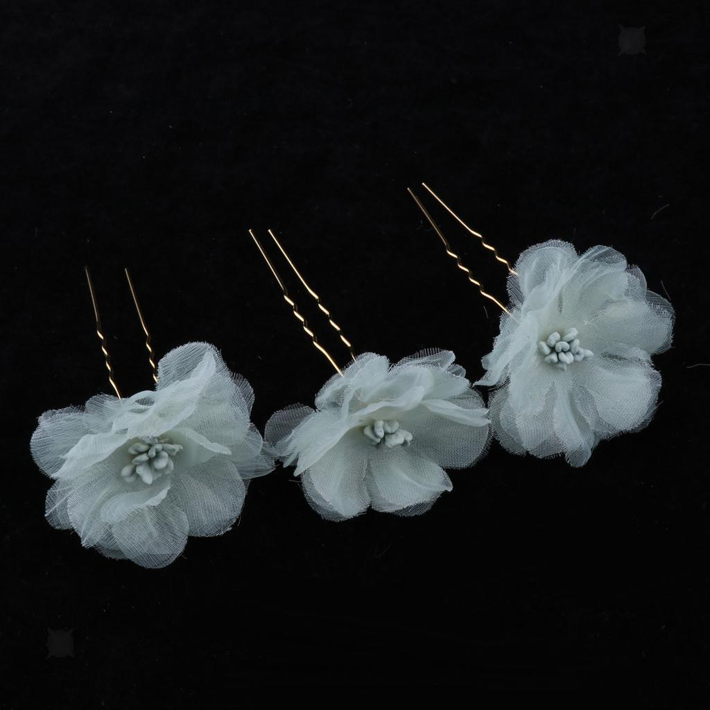 3x-Flower-Hairpins-U-Shape-Hair-Sticks-Bridal-Bride-Headdress-Hair-Pin-Clip thumbnail 16