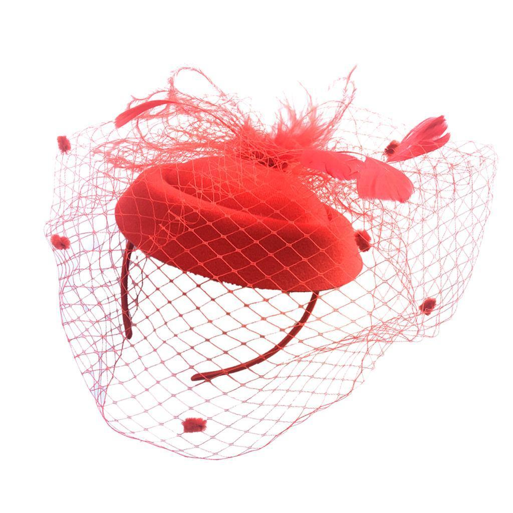 Women-039-s-Fascinator-Hat-Mesh-Veil-Feathers-Headband-Cocktail-Tea-Party-Hats thumbnail 14