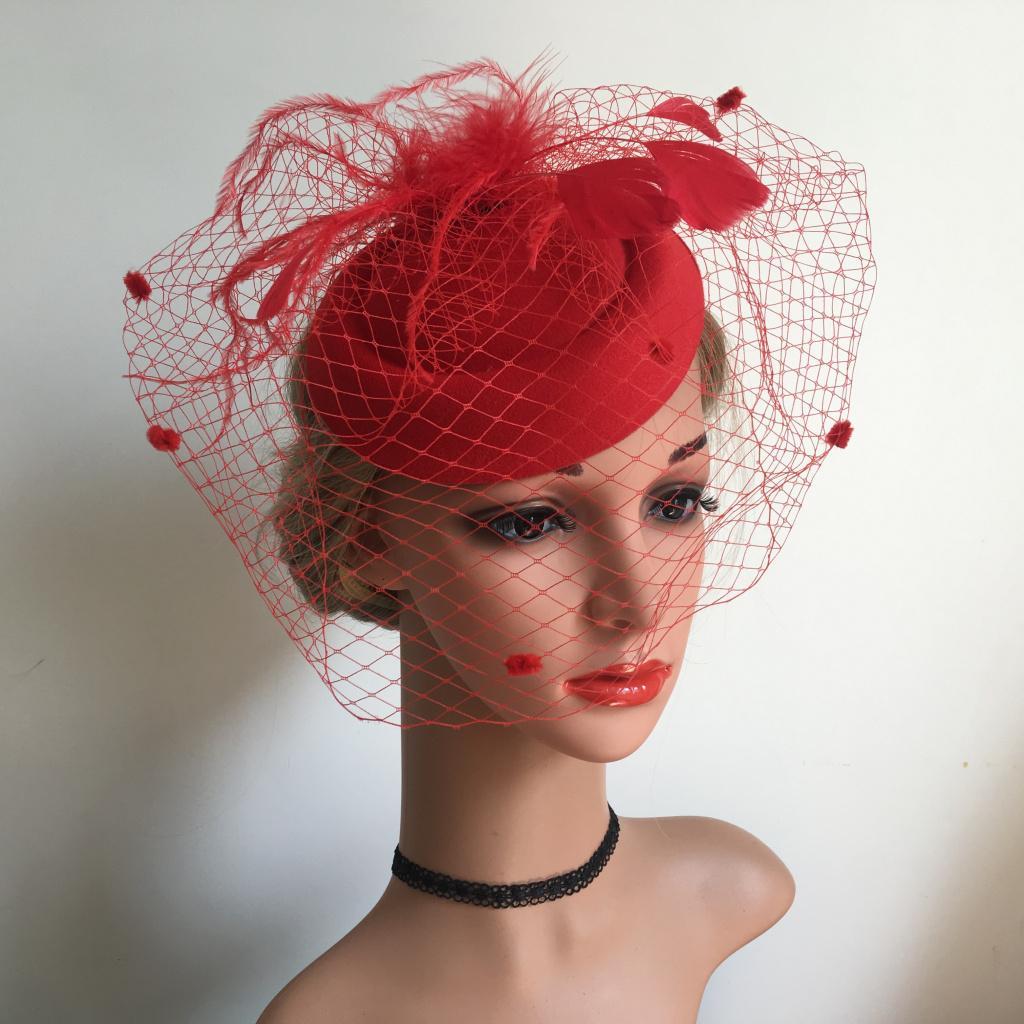 miniatura 3 - Fascinators Hats Cocktail Tea Party Headwear con velo per le donne