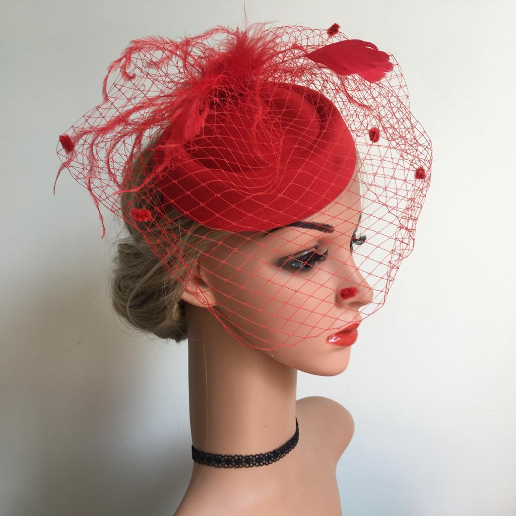 miniatura 4 - Fascinators Hats Cocktail Tea Party Headwear con velo per le donne