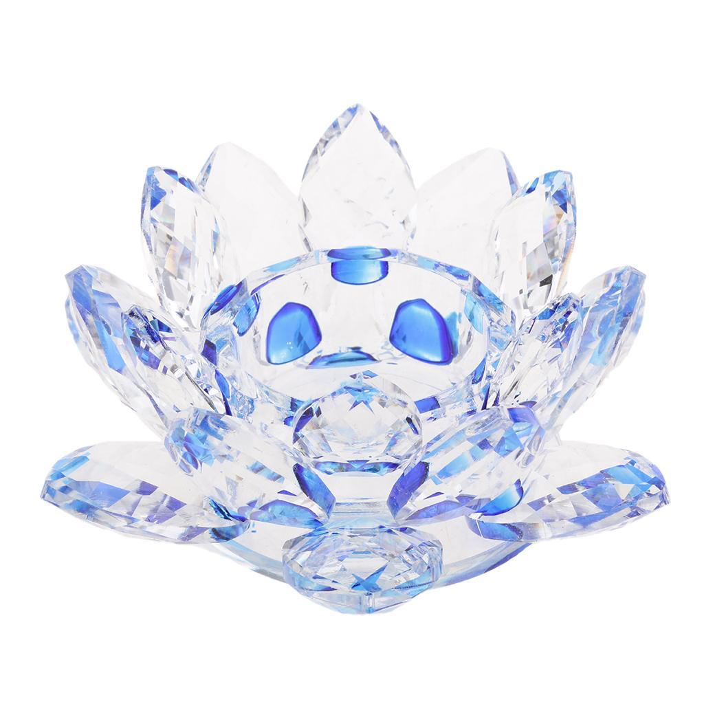 2Pcs-Buddhist-Crystal-Glass-Lotus-Candle-Holder-Decor-12x5cm-Home-Decoration thumbnail 4